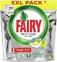 Fairy Platinum Tutto In Uno Limone, 70 Capsule, Pastiglie Per Lavastoviglie, Per Sfide Difficili, Pulisce I Re