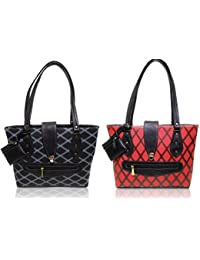 AZED Collections | Combo Of Two Shoulder Handbags | Black & Red Colour | For Women
