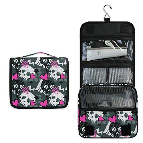 Vinlin Funky Hipster Skull Pattern Multifunction Portable Makeup Storage Bag Travel Hanging Organizer Bag for Women