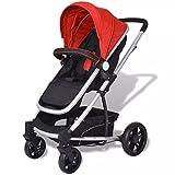 Festnight 2-in-1 Buggy Kinderwagen Klappbar Kindersportwagen Aluminium Praktische für Kinder bis zu 15 kg - Rot und schwarz
