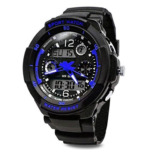 TOPCABIN Jungen Uhren Mädchen Uhren Kinder Armbanduhr Jungen Digital Analog Wasserdicht Sports Uhren für Jungen und Mädchen Digital Uhr Sports Uhren Blau