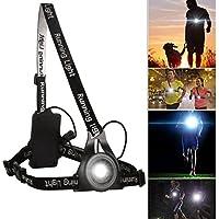 LED lampe de poitrine pour course Rechargeable USB, BraceTek lampe de poitrine Super Bright avec 3 modes 250lm pour le sport en plein air,Très Léger et Confortable et Idéal pour promener le chien, Courir, running, Marcher, Camping, Lire, Pêche