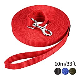 HAPPY HACHI Dog Training Lead Long Rope Cotton Nylon Webbing Recall Obedience Line Leash for Pet (10m/33ft, Red)