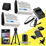 Two Halcyon 1000 MAH Lithium Ion Replacement DMW-BLH7 Batteries And Charger Kit + Memory Card Wallet + SDHC Card USB Reader + Deluxe Starter Kit For Panasonic Lumix DMC-GM1 And Panasonic DMW-BLH7