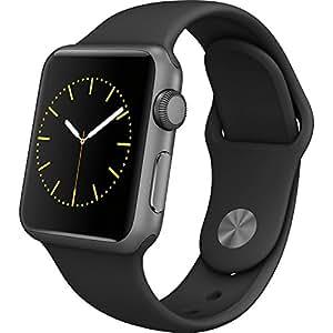 Apple MP0D2MP/A Smartwatch Series 2, 38mm Aluminium Schutzhülle mit Sport Band space grau/schwarz