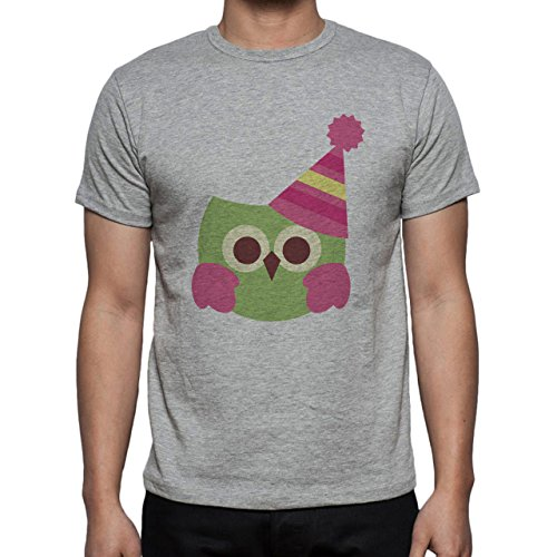 Owl Bird Night Midnighter Hat Pink Herren T-Shirt Grau