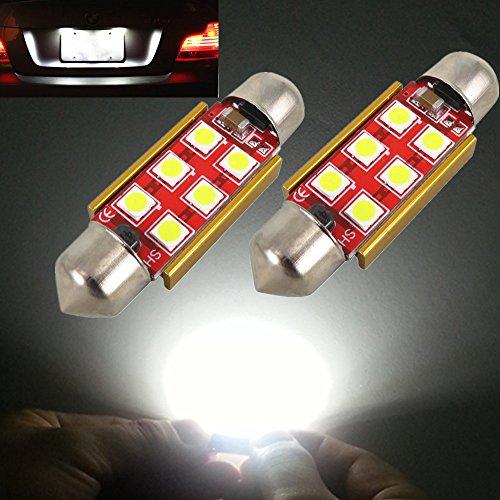 WLJH extrem helle 400 Lumen 3030 Chipsets Canbus fehlerfreie LED-Birnen für Innenkuppel Stamm Höflichkeit 41mm 42mm 211 211-2 Girlande LED-Glühlampen (2pcs, Xenon-Weiß)