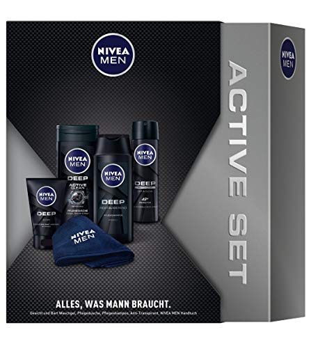 NIVEA MEN Deep Geschenkset, Pflegeset für Männer mit Pflegedusche, Anti-Transpirant, Shampoo & Waschgel, Geschenkbox mit praktischem NIVEA MEN Handtuch
