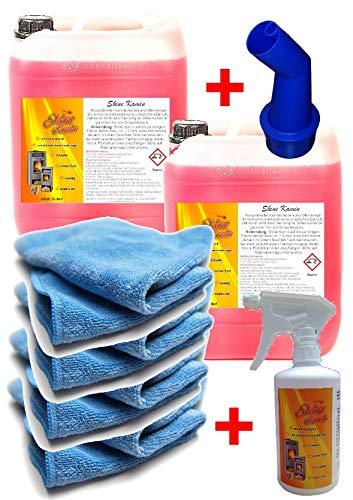 2x 5 Liter + 500 ml Gratis Kaminreiniger GEL + 10 Mikrofasertuch Rußentferner Kaminscheibe Kamin Ofen Scheibe Reiniger Glas Hochkonzentriert