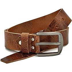 marrón Vintage Cinturón de piel de búfalo cuero 40 mm de ancho y aprox 3-4 mm de grueso, puede acortarse, cinturón, cinturón de piel, cinturón de traje, #Gbr00020 (waist size (Bundweite) 85cm)