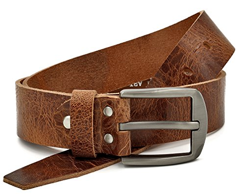 Fa.Volmer ® Gürtel Herren Ledergürtel aus Büffelleder für Männer Jeans Anzug Echtleder Braun 38mm breit kürzbar #GBr00020 (Bundweite 90cm = Gesamtlänge 105cm) - 5/4 Western Leder