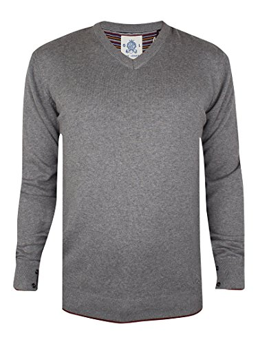 Guide London Herren V-Neck Knit, Grau Grau