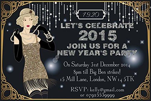 ar New Years Eve Party Einladungen Vintage Great Gatsby Art Deco ()