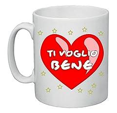 Idea Regalo - Tazza Mug 8x10 Scritta Ti Voglio Bene Idea Regalo Uomo Donna Cuore Rosso