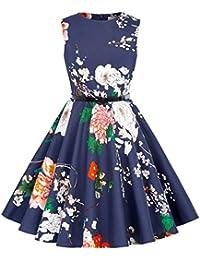 Kate Kasin Vestido Vintage Estampado de Niñas Años 50 para Fiesta Cóctel Vestido Algodón de Verano sin Mangas con Cinturón