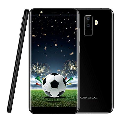 Smartphone ohne Vertrag, Leagoo M9 3G Handy Mobiltelefon Dual SIM Telefon, Vierfach-Kameras, 5.5 Zoll Bildschirm im Verhältnis 18:9, MT6580A Quad Core 1.3GHz, 2GRAM+16GB ROM, Android 7.0 Mobiltelefon für Fußball Sehen (Schwarz)