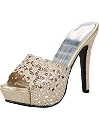 Damen Plateau Sandaletten High Heels Stiletto Shoes Frauen Offene Sandalen  mit Strass Glitzer Sommer Schuhe bd165f07b1