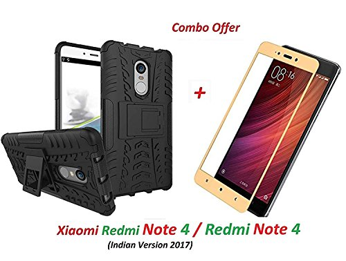 Goelectro Xiaomi Redmi Note 4 / Redmi Note 4 / Mi Redmi Note 4 (COMBO OFFER) Hybrid Armor Design Detachable and Stand-up Feature Dual Layer Protective Shell Hard Back Cover Case for Redmi Note 4 + 2.5D curved 3D Edge to Edge Full Screen Tempered Glass Mobile Screen Protector - - - ( Gold )