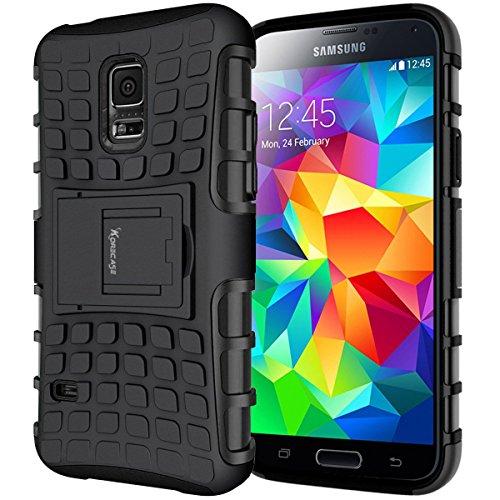 S5 Handy Schutz Schalen, Samsung Galaxy S5 Stoßfest Hüllen Case Ultra Schlanke Leicht Dual Layer TPU Handyhülle mit Ständer und schlagfesten Stoßstange für Samsung Galaxy S5 - Rose