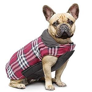 IREENUO Hund umkehrbar Schottenkaro Mantel Herbst Winter warme gemütliche Weste britischen Stil Hund gefütterte Jacke für Kleine mittlere große Hunde (M,Rot)