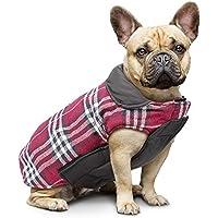 IREENUO Hund umkehrbar Schottenkaro Mantel Herbst Winter warme gemütliche Weste britischen Stil Hund gefütterte Jacke für Kleine mittlere große Hunde (L,Rot)