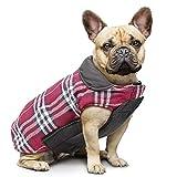 IREENUO Cappotto Scozzese Reversibile per Cani Autunno Inverno Caldo e Accogliente Gilet Imbottito da Cane Stile Inglese per Cani di Taglia Piccola di Media Taglia (S,Rosso)