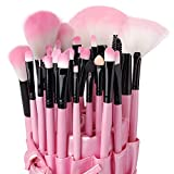 Eleacc 32tlg Make UP Pinsel Pinselset Schminkpinsel Kosmetikpinsel Kosmetik Brush Kunstleder Etui Pink