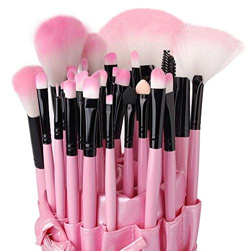 Eleacc® Lot de 32pcs Brosses Pinceaux de Maquillage pour Fondation Fond de Teints Anticerne Yeux Lèvres avec Sac de Rangement en Cuir PU Rose