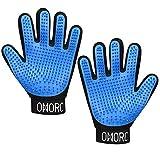 OMorc 2PCS Pet Bürste Handschuh, Haustier Grooming Bürsten Deshedding Glove Massage-Handschuh Pflegenbürste Tierhaar-Handschuh Haarentferner Fellpflegehandschuh für Hund Katze