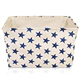 Cream Star Canvas Storage Basket - High Quality Rectangle Fabric Basket with Blue Stars – Perfect for Household Storage, Fabrics or Toys. Size: 40cms x 30cms x 25cms