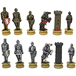 Unbekannt Cadena de Figuras de ajedrez Caballero Medieval Ritter Figuras de ajedrez