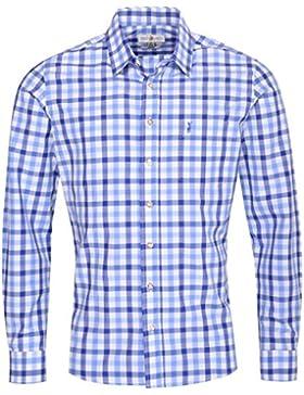 Almsach Trachtenhemd Norbert Slim Fit mehrfarbig in Blau, Hellblau und Weiß inklusive Volksfestfinder