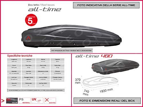 Proposteonline portabagagli Box Tetto Auto 193 x 74 x 37 cm per Audi a3 2003  con Barre Portapacchi portatutto ok75ak
