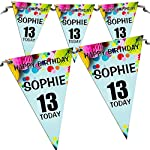 Personalised Girls Boys Birthday Flag Banner Bunting N1-10 Flags inc Ribbon Any Age 1st 5th 10th 16th 18th 21st 30th 40th