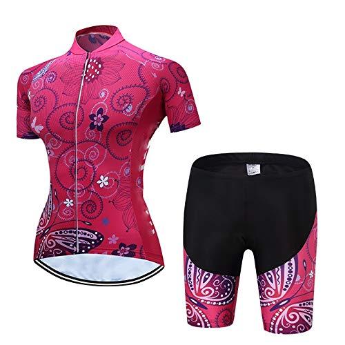 CHUANGQIF Frauen Radtrikot Top Bike Biking Kurzarm Radfahren Jersey Wasserdicht Quick Dry Radfahren Kleidung, red 2 -