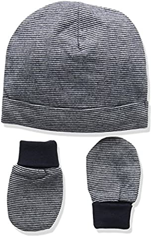 Mamas and Papas Baby Boys' Stripe Mitts Hat, Blue, 1 (Manufacturer Size: 6-12 Months)