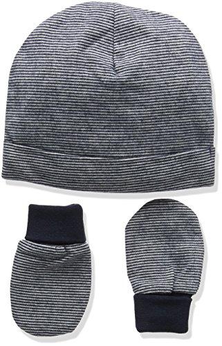 Mamas & Papas Stripe Hat & Mitts Bonnet, Bleu, Taille du Fabricant: 0-3 Mois Bébé garçon