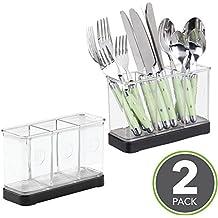 mDesign - Organizador de utensilios y cubiertos, para mesada de la cocina; guarda espátula, vajilla - Negro mate/claro - Paquete de 2