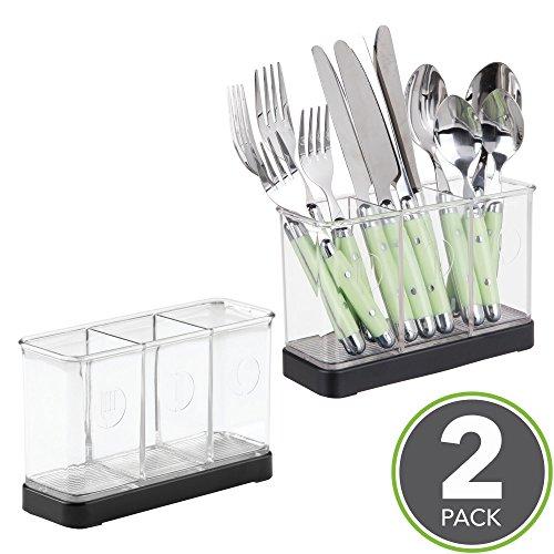 mDesign range couverts – rangement pour couverts et ustensiles de cuisine – porte couvert – en plastique – noir mat / transparent - lot de 2