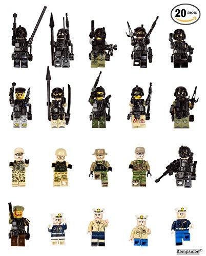 Jeu de Mini Figurines de L'armée Lot de 20 Pièces, Petite Troupe de Police SWAT avec des Accessoires D'armes Militaires, Jouet Educatif, Beau Cadeau pour les Amateurs de Lego, Anniversaires, Fêtes et Vacances, Compatible avec Lego