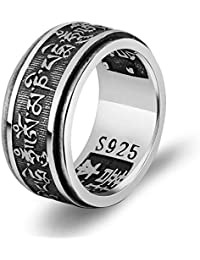 7f693c79d7 Beydodo Sterling Silver Ring Vintage Hip Hop Ring for Men Polished Buddhist  Ring Spinner Engraved Mantra