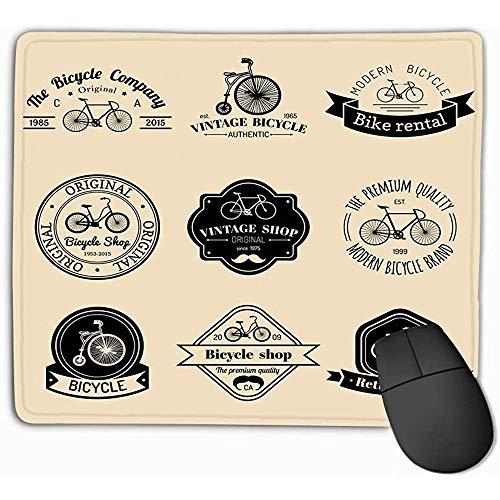 Gaming Mouse Pad länglich geformte Mauspad 30 X 25 cm Set Vintage Hipster Fahrrad Logo moderne Fahrrad Abzeichen Embleme Sammlung geometrische