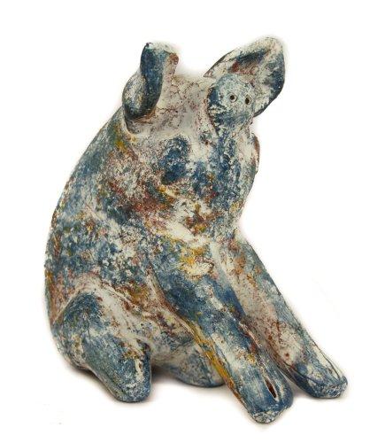 Tirelire en céramique, assis Cochon - Commerce équitable et fabriqué à la main au Mexique - en intérieur ou en extérieur L15 X H) 11, disponible en différentes couleurs
