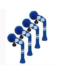 Scott Edward Housses de tête de club de golf hybride/utilitaires, 4 pièces Emballé, Blanc Argyle, fil Acrylique Double-layers en tricot, avec rotatif Nombre balises, bleu