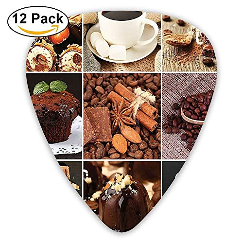 Coffees Mugs Cupcake Chocolate Deserts Nuts Cocoa Tasty Sweets Collage Guitar Picks 12/Pack Set -