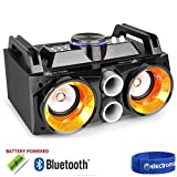Fenton Battery Powered Portable Stereo Ghetto Speaker with Bluetooth USB & Lights 100w