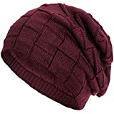 Compagno warm gefütterte Beanie Wintermütze Flechtmuster unifarben oder meliert Einheitsgröße Mütze, Farbe:Weinrot