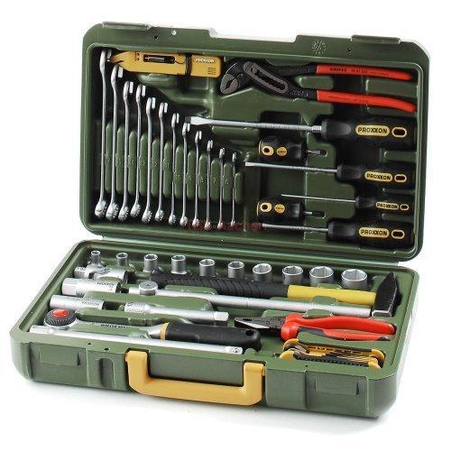 PKW- und Universalwerkzeugkoffer Proxxon MicroMot Artikel-Nr. 23650 - Inhalt: 12 Ring-Gabelschlüsselsatzen, Schlüssel, Schraubendreheren, Zündkerzen-spezialeinsätzen, Schlosserhammer, umv.