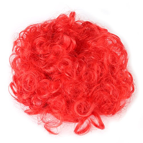 (TOPINCN Pet Dog Perücke Furry Pet lockiges Haar Zubehör für Cosplay Halloween Weihnachten Rot(Rot))