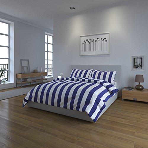 Juego de ropa de cama Bloomsbury Mill, a rayas, color azul marino y blanco, algodón poliéster, set edredón doble